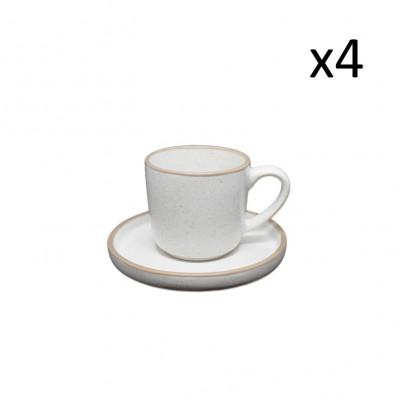Tasse mit Untertasse 18 cl 4er-Set   Creme