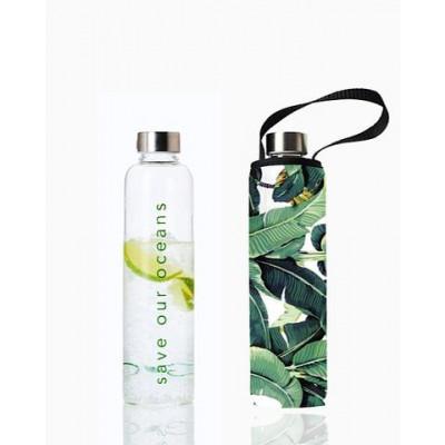 Trinkflasche Glass Is Greener + Tragehülle | Banana Leaf Print