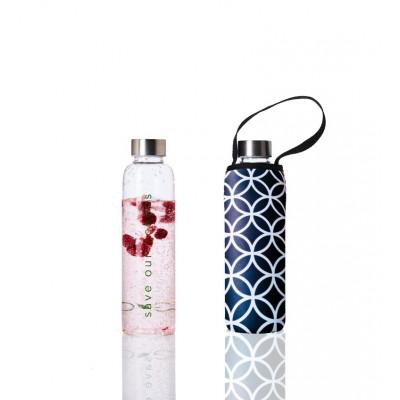 Trinkflasche Glass Is Greener + Tragehülle 570 ml | Deca Print