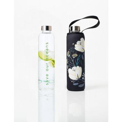 Trinkflasche Glass Is Greener + Tragehülle | Orient Print