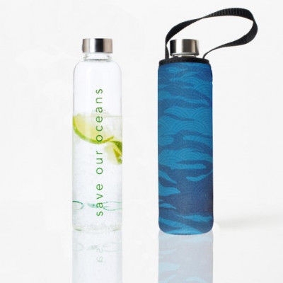Trinkflasche Glass Is Greener + Tragehülle 750 ml | Sea Print