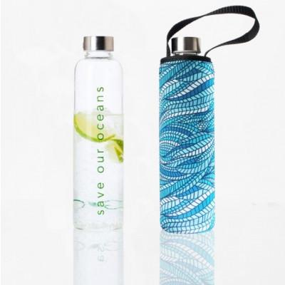 Trinkflasche Glass Is Greener + Tragehülle | Sealeaf Print