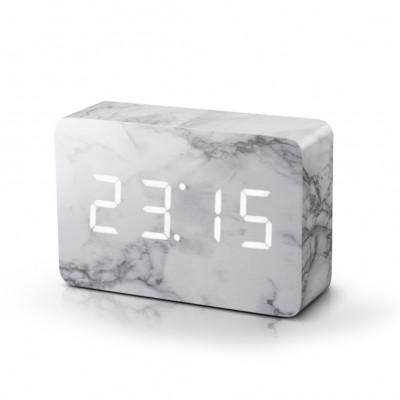 Ziegel-Klick-Uhr | Marmor / weiß