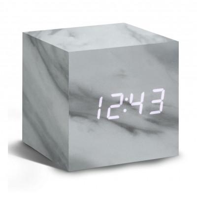 Würfel-Klick-Uhr | Marmor & Weiß