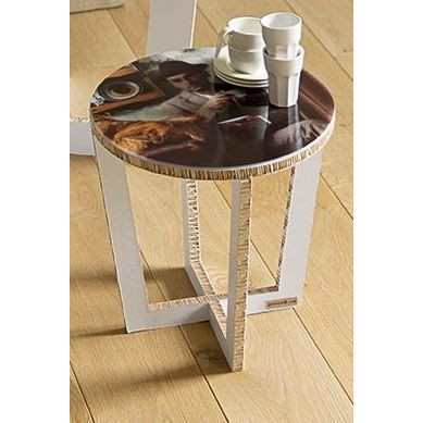 Round Table with removable tray-  white