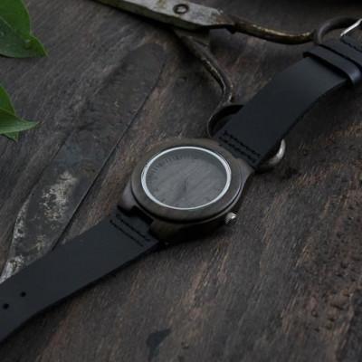 Wooden Watch | Black Leather + Medium Brown Wood