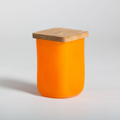 Glasgefäß mit quadratischem Deckel Orange