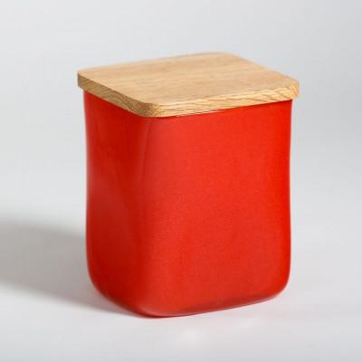 Glasgefäß mit quadratischem Deckel Rot
