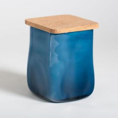 Glasgefäß mit quadratischem Deckel Blau