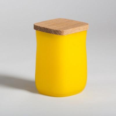 Glasgefäß mit quadratischem Deckel Gelb