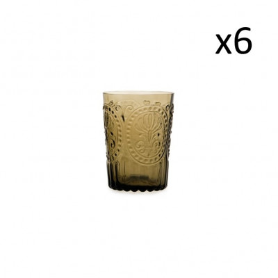 Glasfleur de Lys 6er-Set   Braun