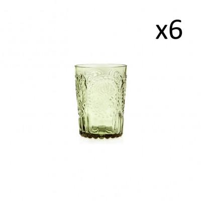 Glasfleur de Lys 6er-Set   Grün