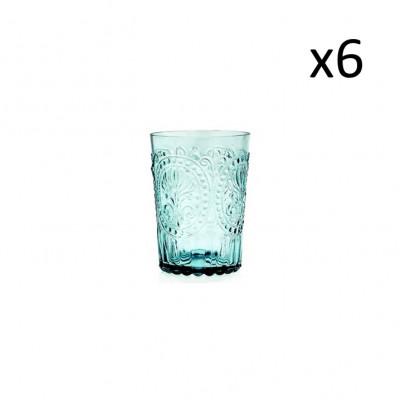Glasfleur de Lys 6er-Set   Blau