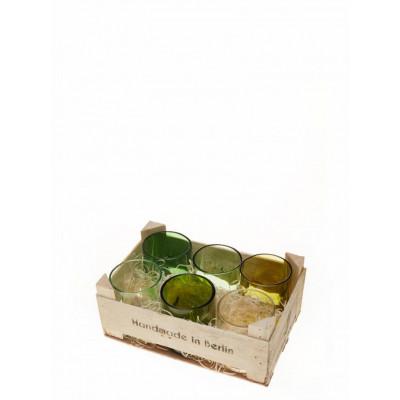 Holzkiste | Set mit 6 kurzen Gläsern