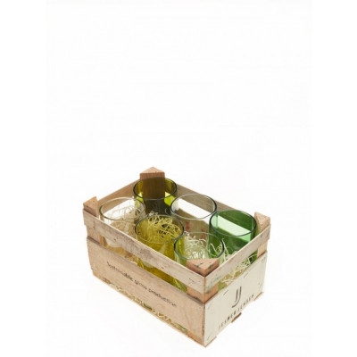 Holzkiste | Set mit 6 hohen Gläsern