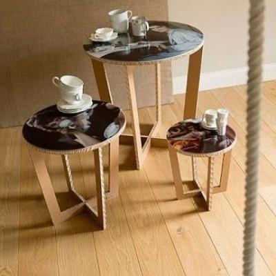 Runder Tisch mit abnehmbarem Tablett - braun
