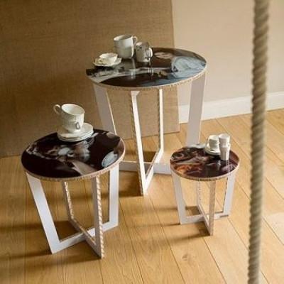 Runder Tisch mit abnehmbarem Tablett - weiß