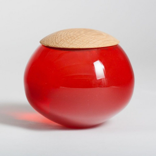Unique Glass Jar Red