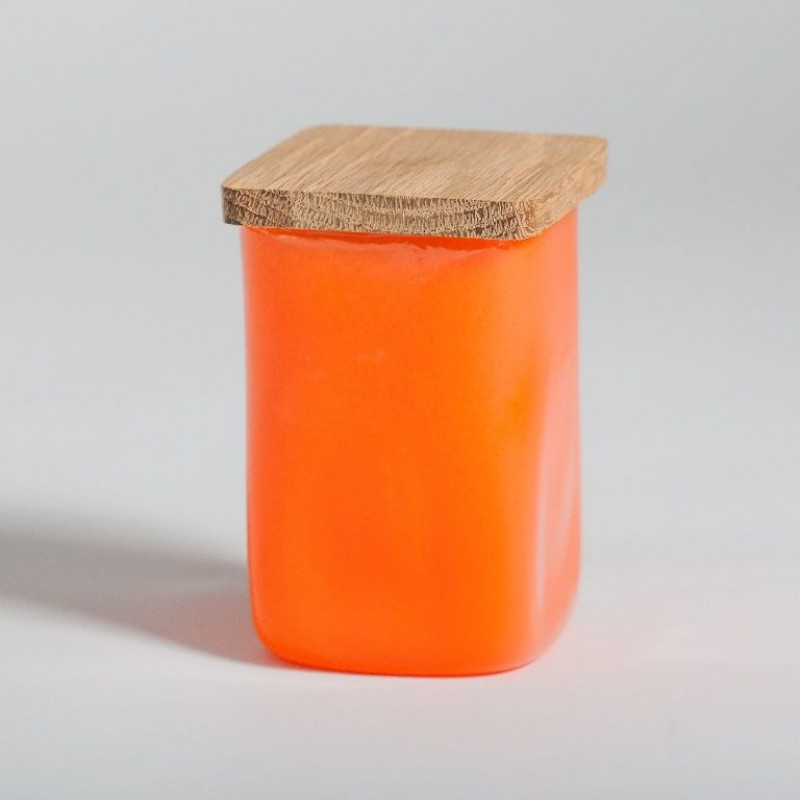 Glass jar with squared lid Orange