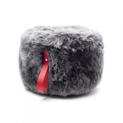 Runder Schafsfell-Puff | Grau