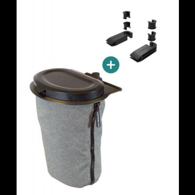 Flextrash Mülleimer 3 L + 2 Sitzklemmen | Grau