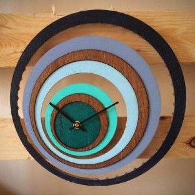 Grande Illusion Uhr | Holz/Blau