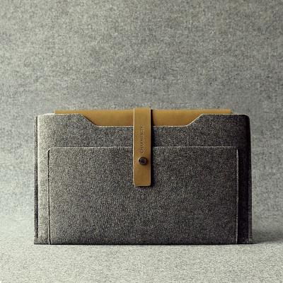 Khaki & Granite Leather Macbook Air Sleeve
