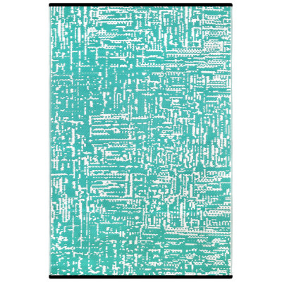 Indoor/Outdoor Plastic Rug Cosmopolitan   Turquoise/White