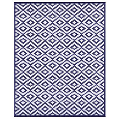 Indoor/Outdoor Plastic Rug Nirvana   Navy Blue/White