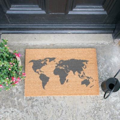 Fußmatte Grau | Weltkarte