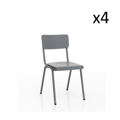 4er-Set Stuhl Old School | Grau