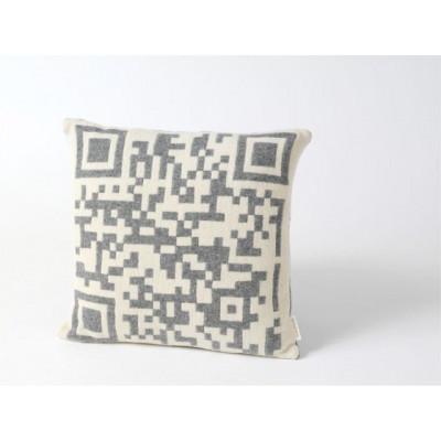 Strichcode 2D-Kissen Grau