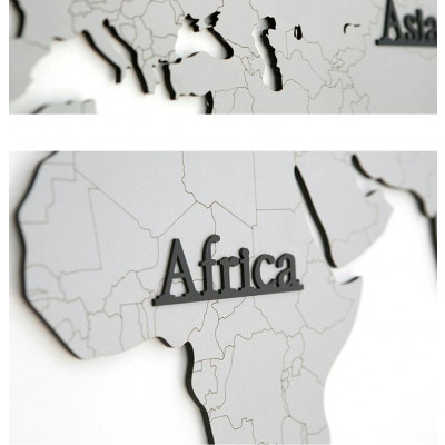 Worldmap & Wall Clock Set   Grey & Grey