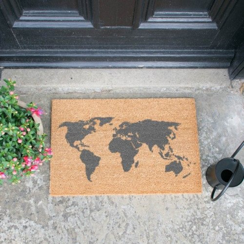 Fußmatte Grau   Weltkarte