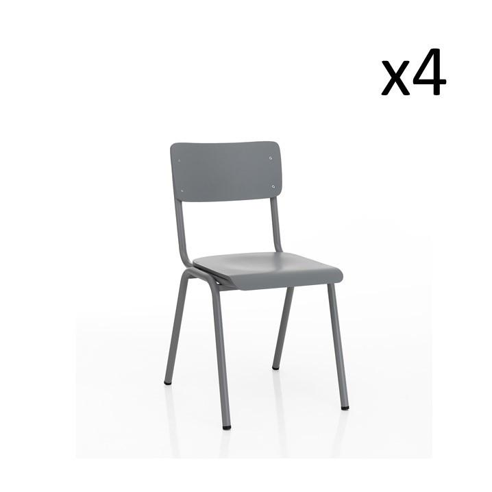 4er-Set Stuhl Old School   Grau