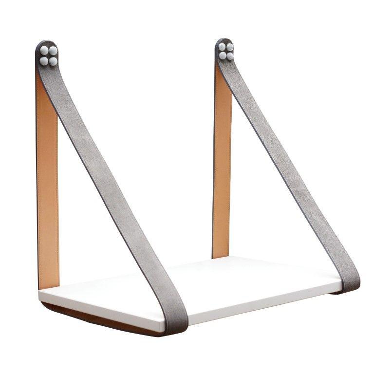 Suede Leather Strap Sidetable Shelf | White + Grey Straps