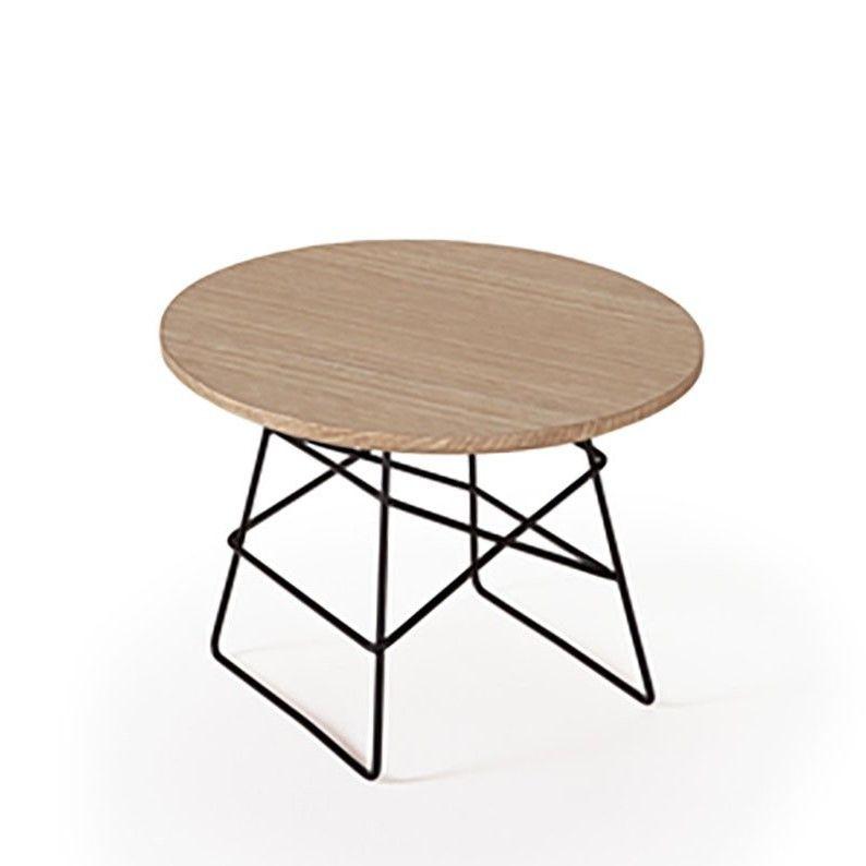 Grid Side Table Oak & Black | Small
