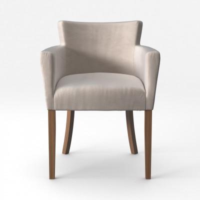 Stuhl Santal Samt Touch | Braune Beine & Creme