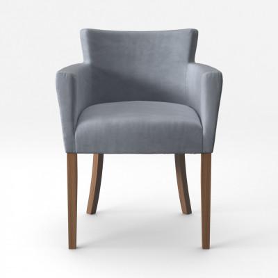 Stuhl Santal Samt Touch | Braune Beine & Grau