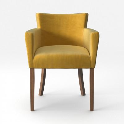Stuhl Santal Samt Touch | Braune Beine & Gelb