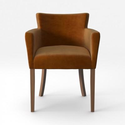 Stuhl Santal Samt Touch | Braune Beine & Senf