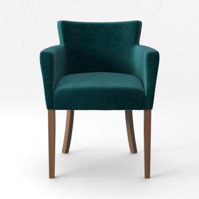 Stuhl Santal Samt Touch | Braune Beine & Petrolblau