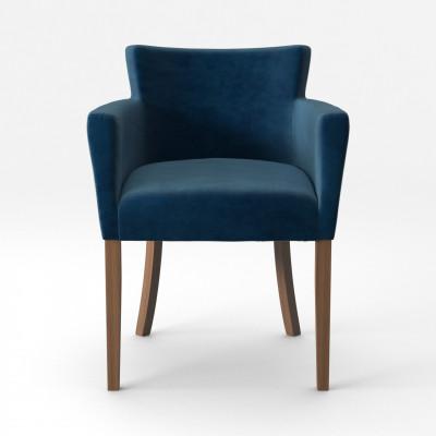 Stuhl Santal Samt Touch | Braune Beine & Marineblau
