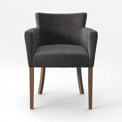 Stuhl Santal Samt Touch | Braune Beine & Anthrazit