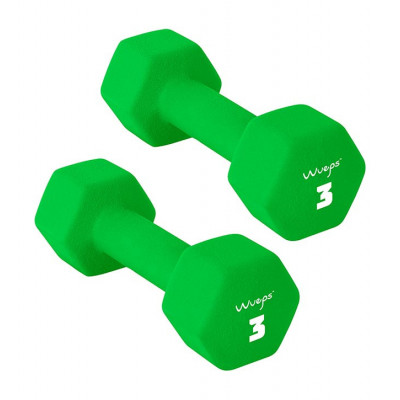 2er-Set Neopren Kurzhanteln 3 kg | Grün