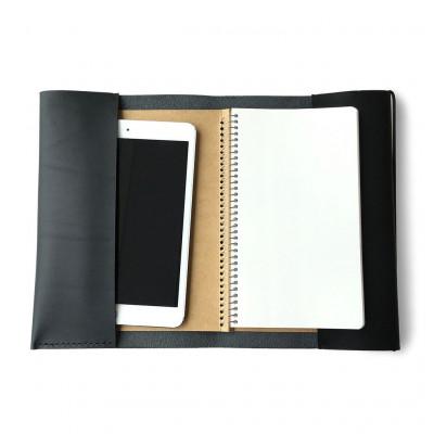 Leather Portfolio Cover   Black