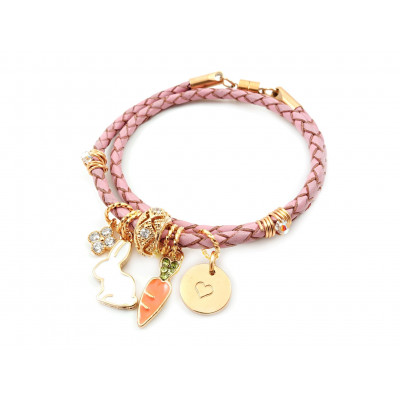 Handcrafted Leather Charm Bracelet | Bunny