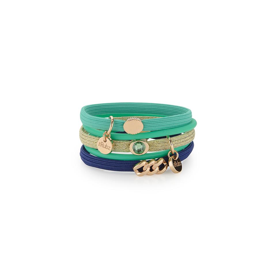 Hair Ties N°4   Green & Blue