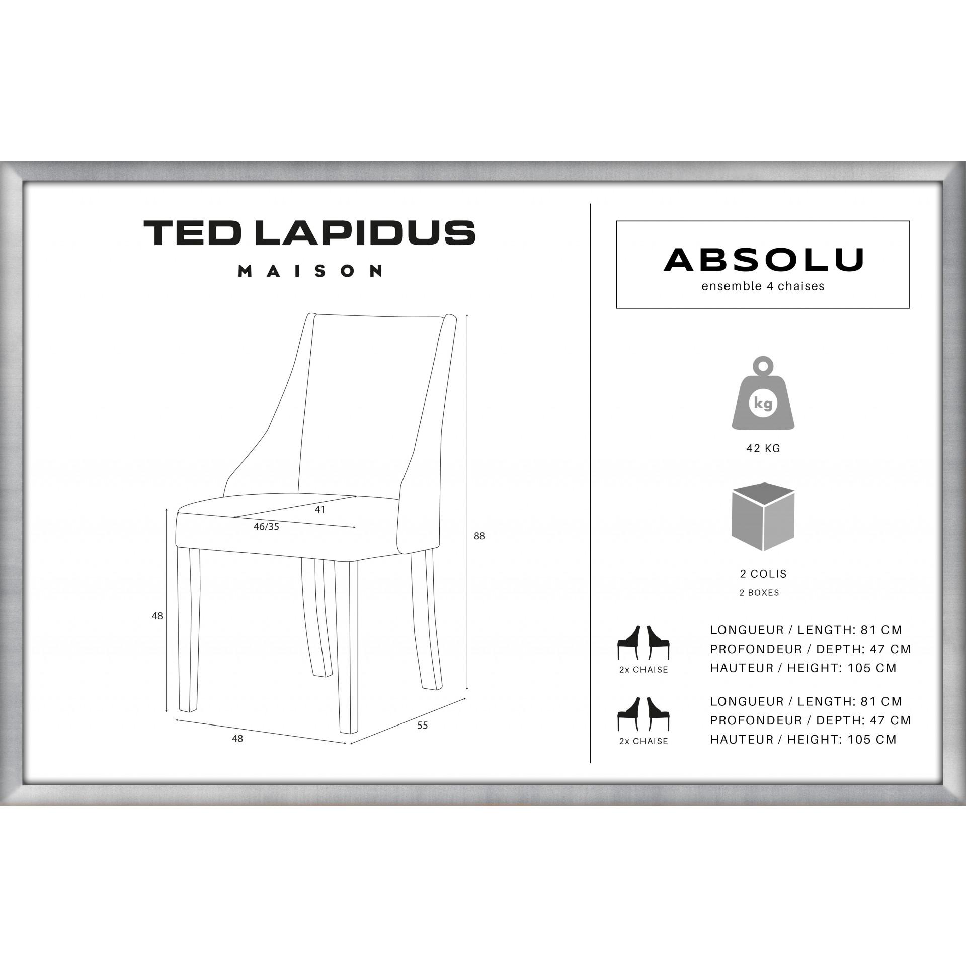 Fauteuil Absolu | Pieds noirs | Dossier gris | Lot de 4