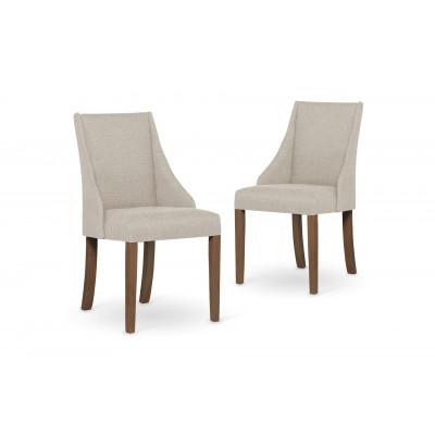 2-er Set Esszimmerstühle Absolu | Creme & Braune Beine